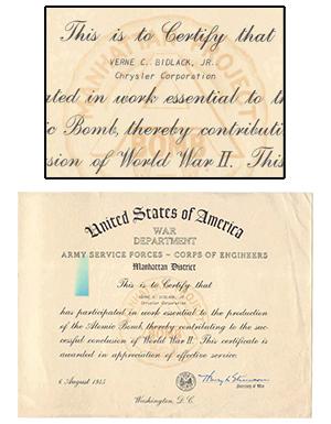 war dept certificate