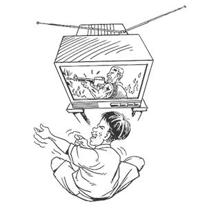 tv violence by carlos latuff